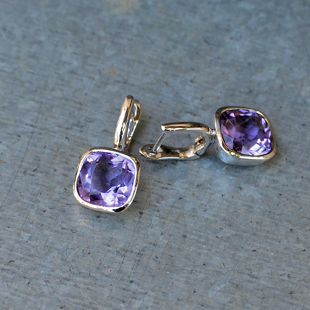 Sterling Silver Hook Cut Amethyst Earrings