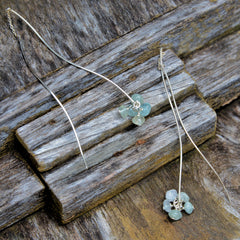 Aquamarine Bead and Sterling Silver Dangle Earrings