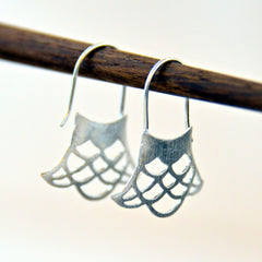 Brushed Sterling Silver Webbed Earrings