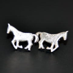 Brushed Silver Stud Mustang Horse Earrings