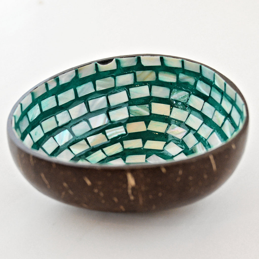 Oyster Shell Lacquered Coconut Bowl - Teal