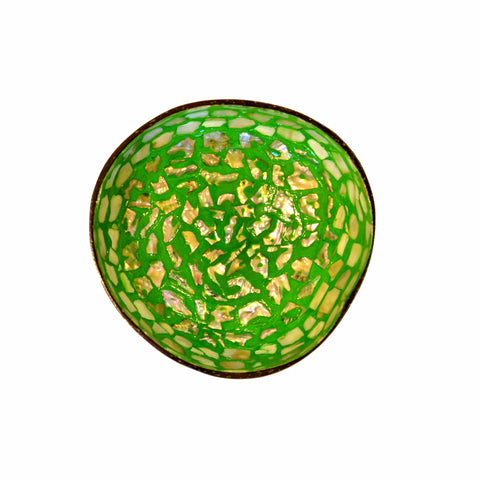 Oyster Shell Lacquered Coconut Bowl - Lime Green with Natural Shaped Shells