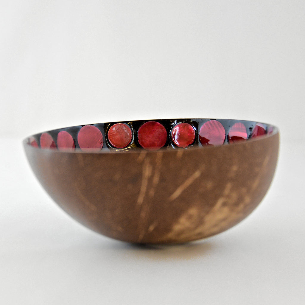 Oyster Shell Lacquered Coconut Bowl - Red Circles