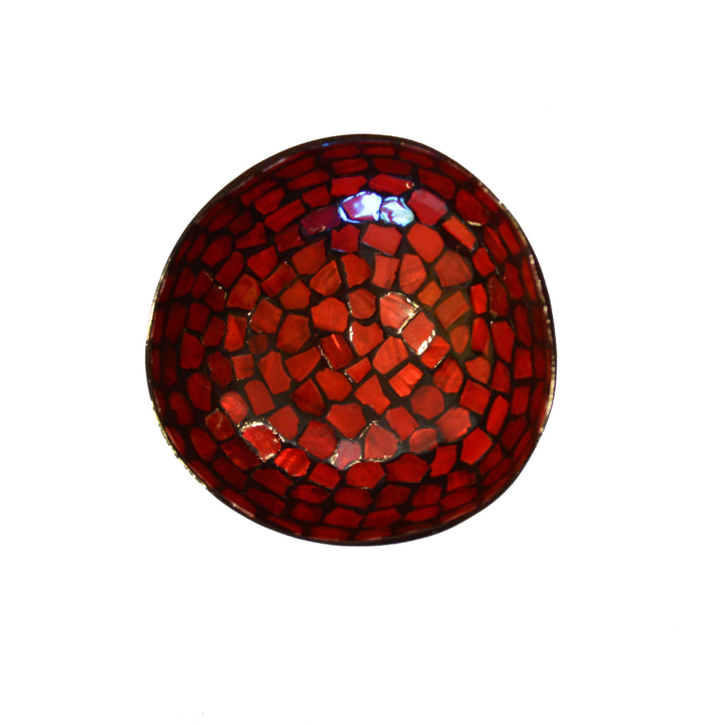 Oyster Shell Lacquered Coconut Shell Bowl - Red with Natural Shape Shell