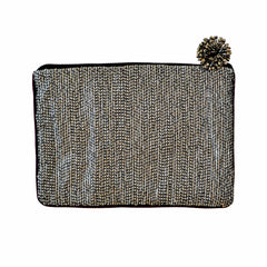 Beaded Sequin Clutch Bag with Pansy Beading