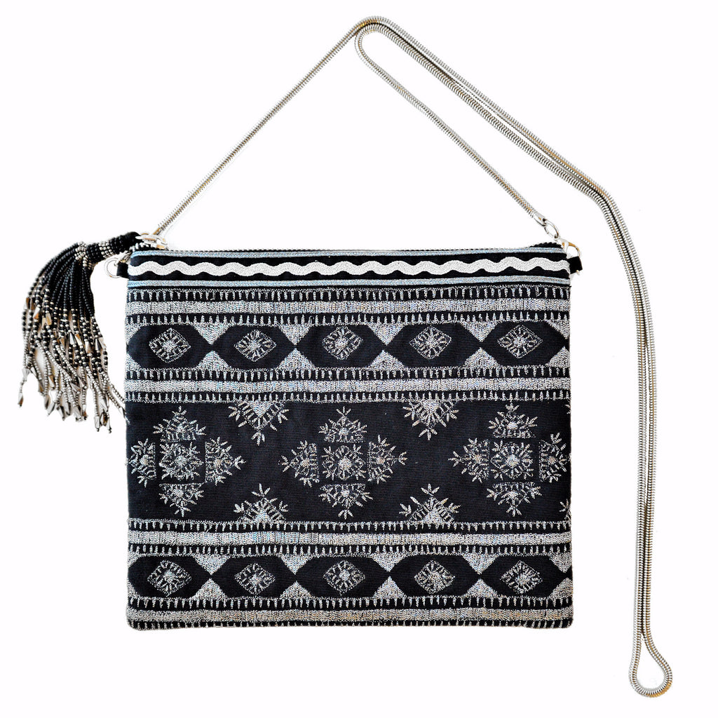 Embroidered Clutch Bag with Removable Strap