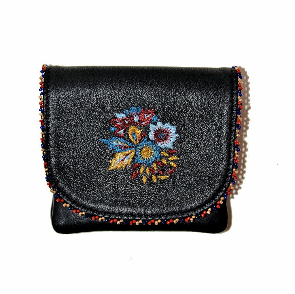 Beaded Leather Mini Clutch/Change Purse