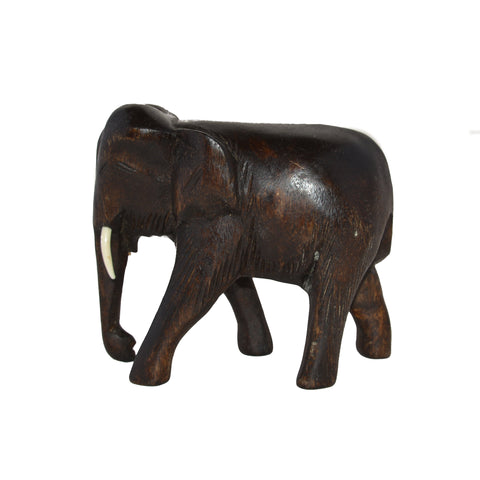 Hand Carved Elephant Figure (6 inch, Dark Color, Trunk Down)