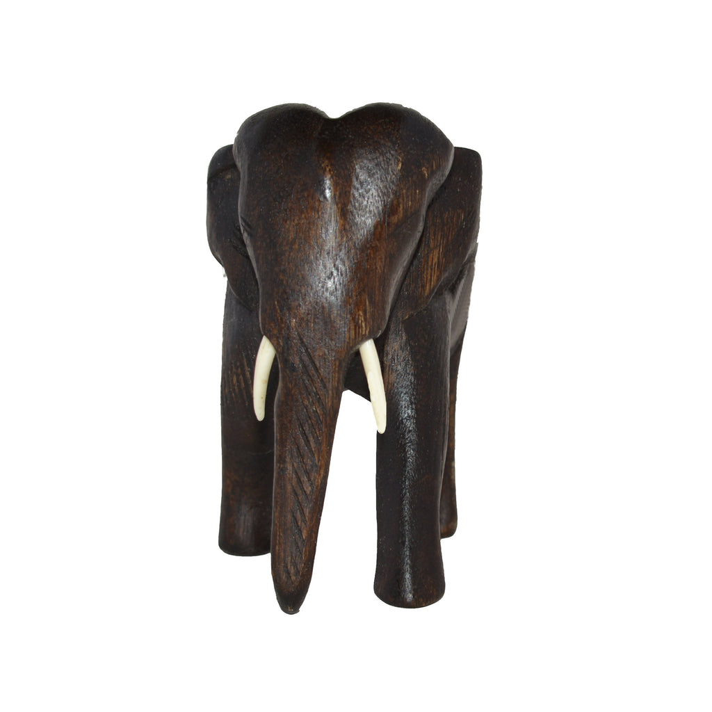 Hand Carved Elephant Figure (12 inch, Dark Color)