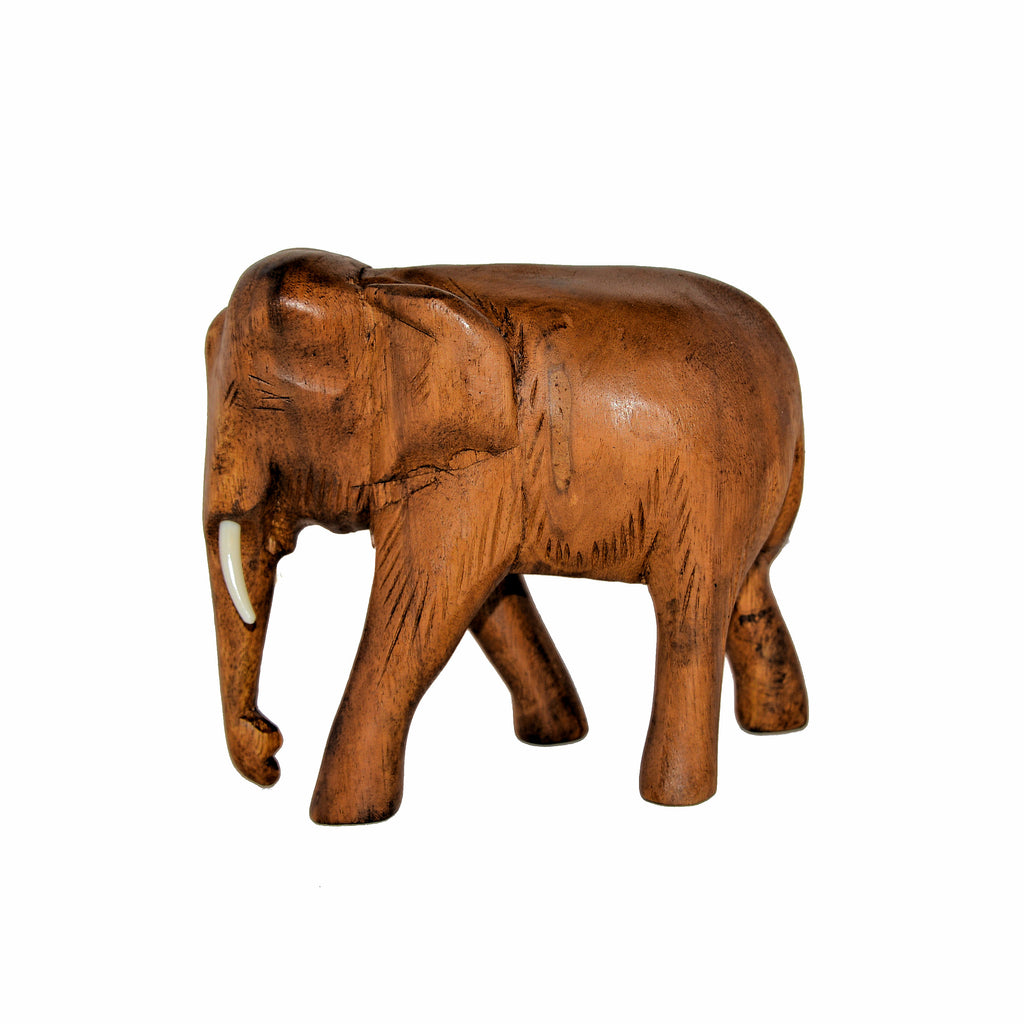 Hand Carved Elephant Figure (6 inch, Light Color, Trunk Down)