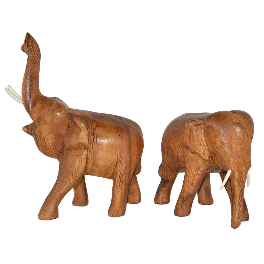 Hand Carved Elephant Figure (6 inch, Light Color, Trunk Up)