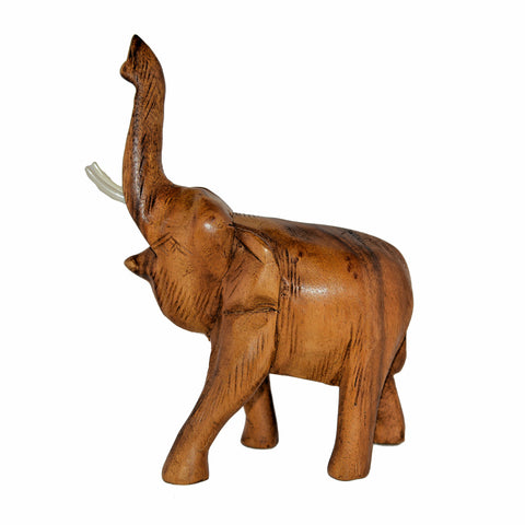 Hand Carved Elephant Figure (3 inch, Light Color, Trunk Up)