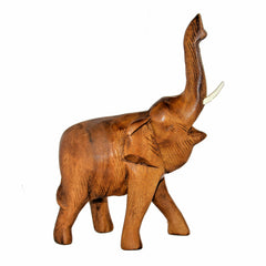 Hand Carved Elephant Figure (8 inch, Light Color, Trunk Up)