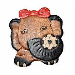 Carved Wood Child's Elephant Stool - Polka-Dot Red Bow
