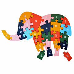 Wooden Elephant Puzzle Jigsaw Numbers  & Alphabet Educational Toy