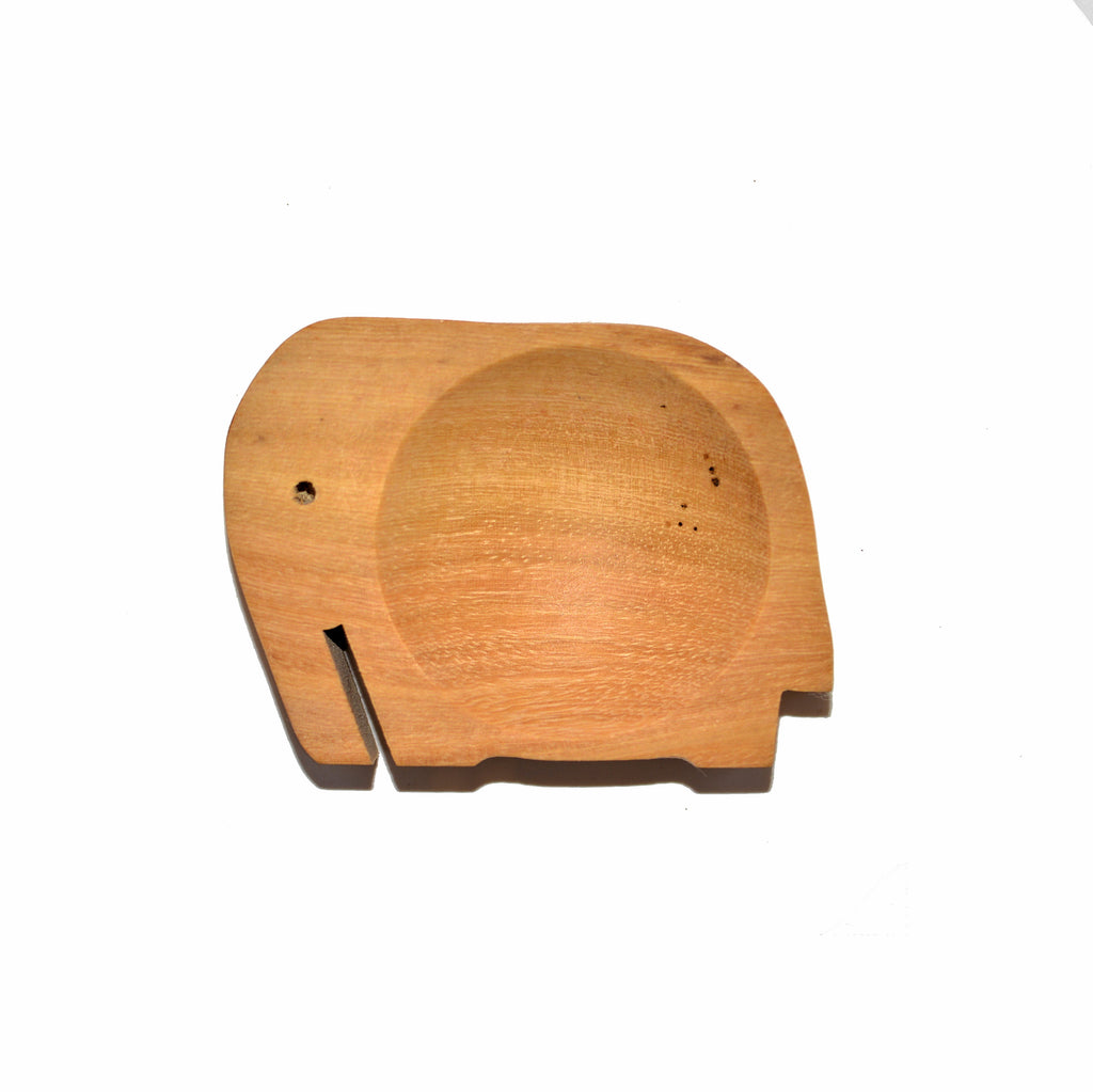 Wood Elephant Shaped Individual Spice Condiment Dishes