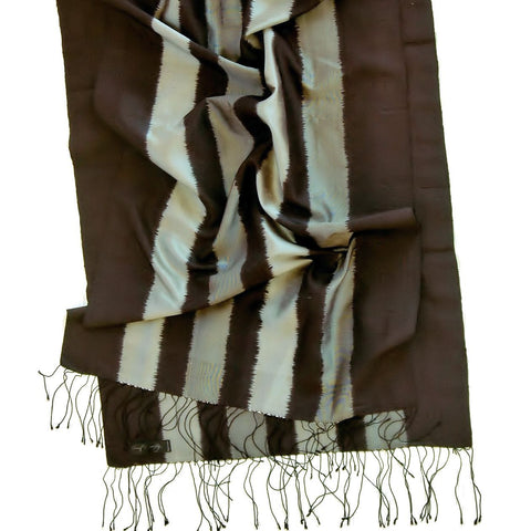 Carol Cassidy Black and Silver Rib Vertical Ikat Shawl