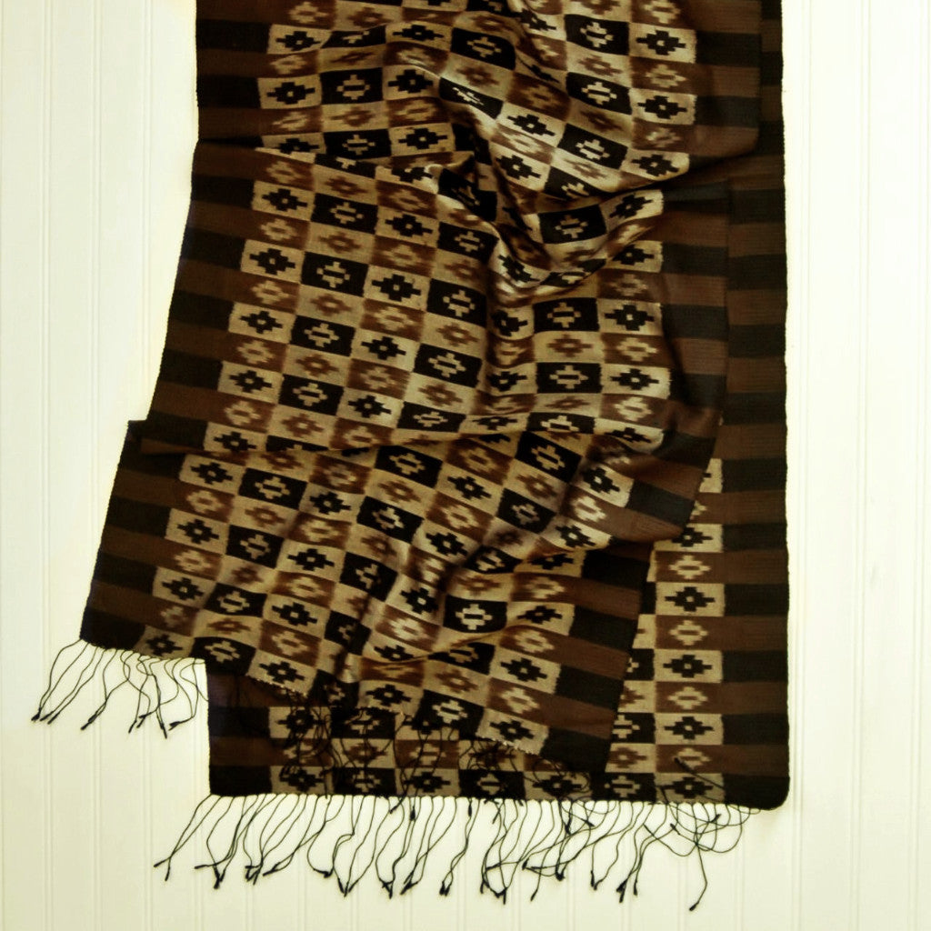 Carol Cassidy Black and Brown Rib Mok Ikat Shawl