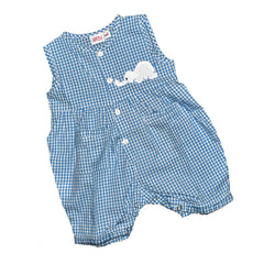 Onesie Jumper with Elephant - Blue Check