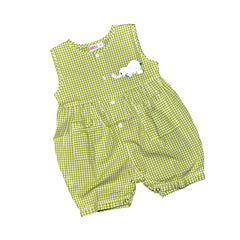 Onesie Jumper with Elephant - Green Check