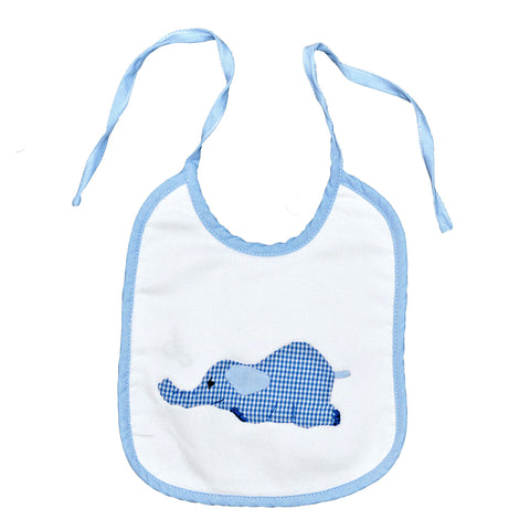 Laying Elephant Back Tie Infant Bib - Blue