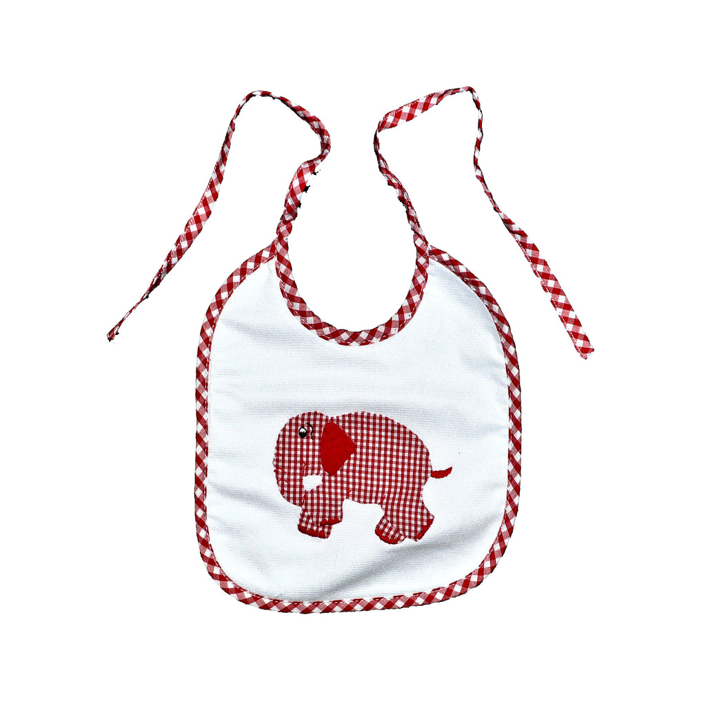 Standing Elephant Back Tie Infant Bib - Red