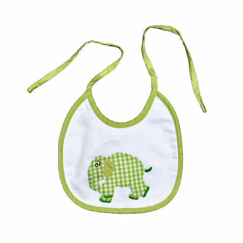 Standing Elephant Back Tie Infant Bib - Lime Green