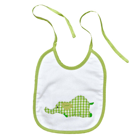 Laying Elephant Back Tie Infant Bib - Green