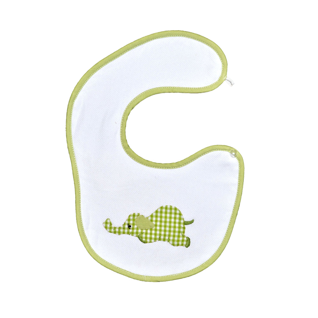 Laying Elephant Wrap Around Button Bib - Lime Green