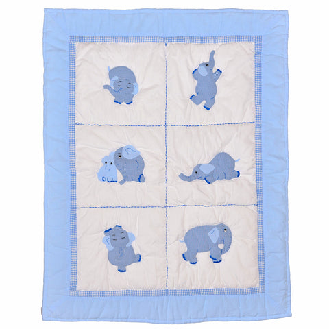 Elephant Baby Quilt - Blue