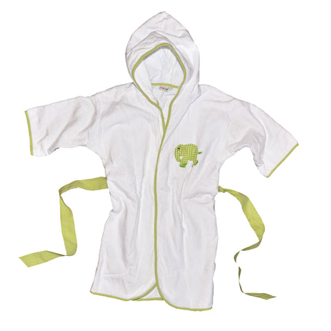 Standing Elephant Terrycloth Bathrobe - Lime Green