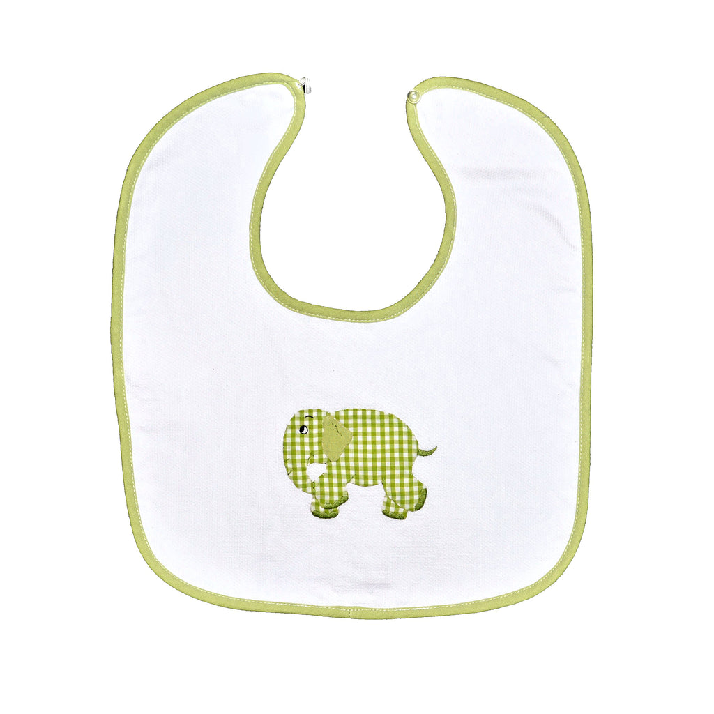 Standing Elephant Back Button Bib - Lime Green
