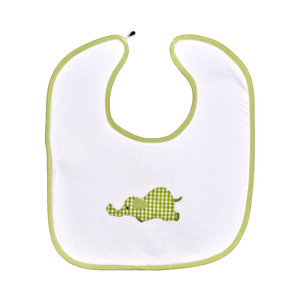 Laying Elephant Back Button Bib - Lime Green