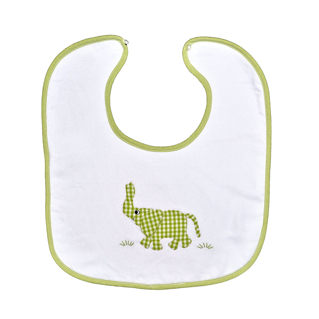 Trunk Up Elephant Back Button Bib - Lime Green