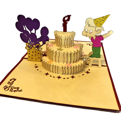 Vietnamese Hand-made Pop-up Card - Birthday Cake with Boy Blowing out Candle