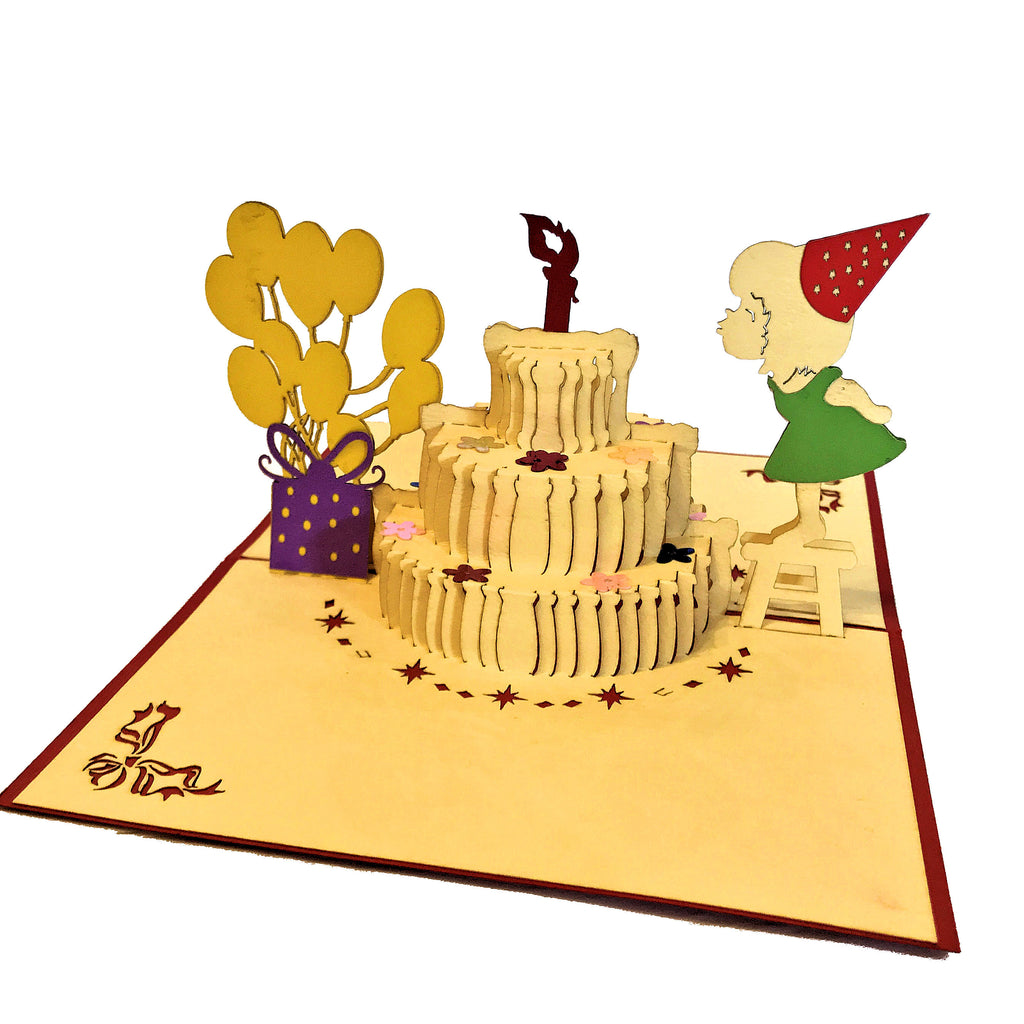 Vietnamese Hand-made Pop-up Card - Birthday Cake with Girl Blowing out Candle