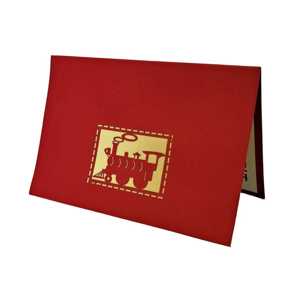 Vietnamese Hand-made Pop-up Card - Red,White & Blue Train with Monkey Conductor