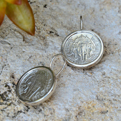 Thai Sterling Silver Coin French Hook Earrings