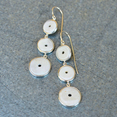 Silver Conch Shell 3-Tier Dangle Earrings
