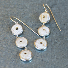 Silver Conch Shell 3-Tier Dangle Earrings (off-white)