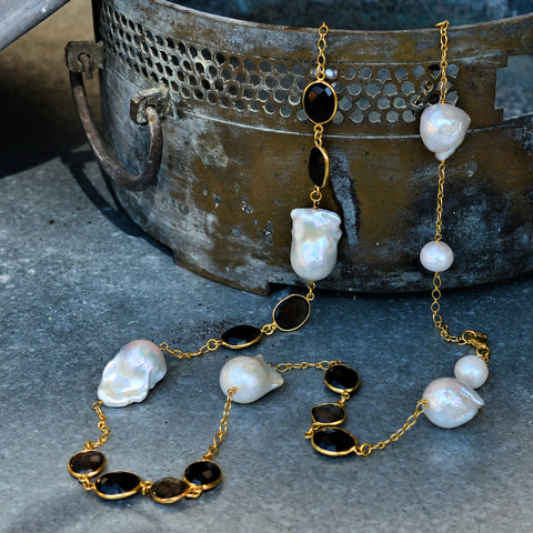 Smoky Black Spinel Gemstones & Baroque White Pearl Necklace