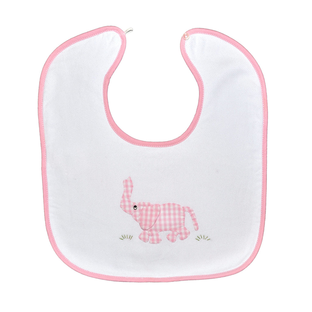 Trunk Up Elephant Back Button Bib - Pink