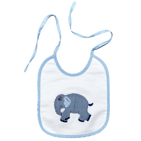 Standing Elephant Back Tie Infant Bib - Blue