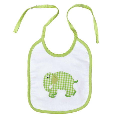 Standing Elephant Back Tie Infant Bib - Green