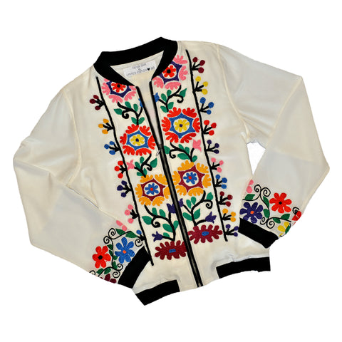 Limited Edition Embroidered Silk Crepe Bomber Jacket #183