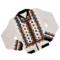 Limited Edition Embroidered Silk Crepe Bomber Jacket #182