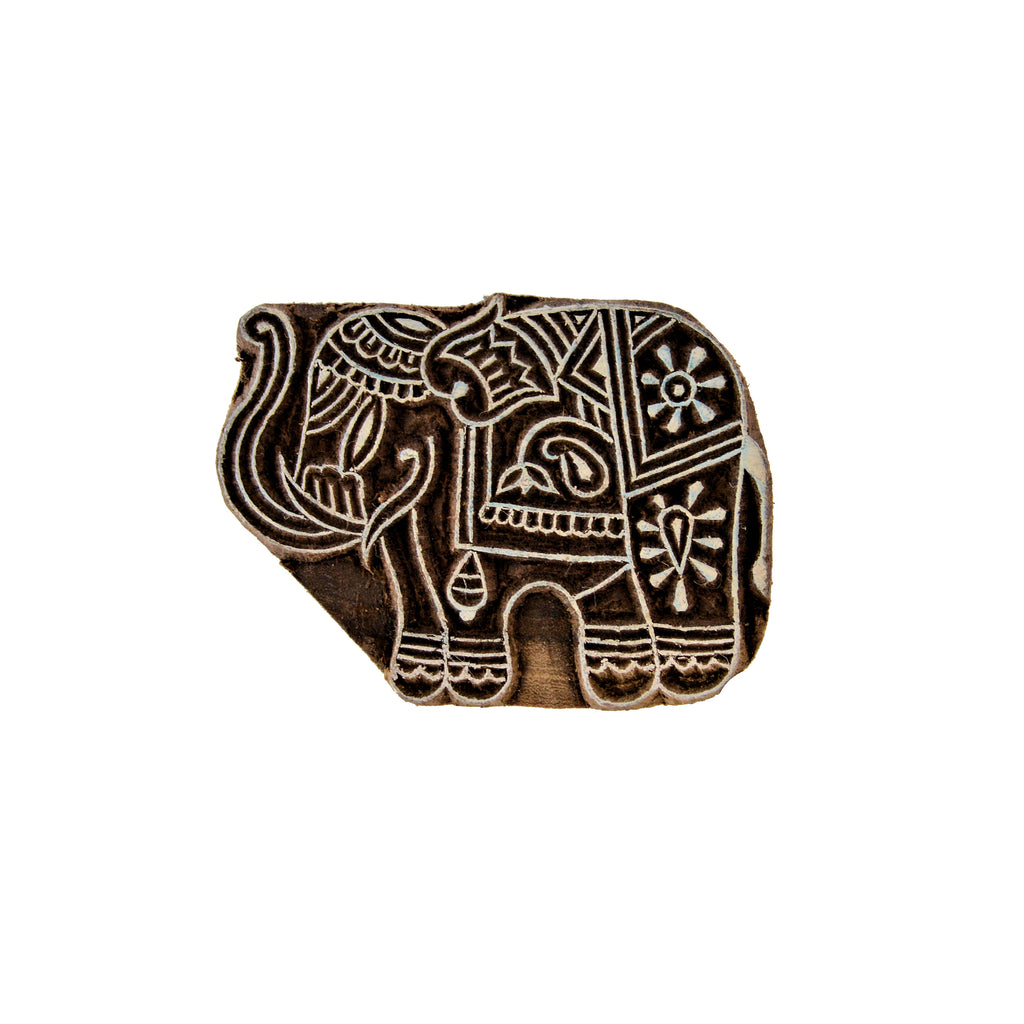 "Hand-carved Wood Elephant Ink Stamp (3.5"")"