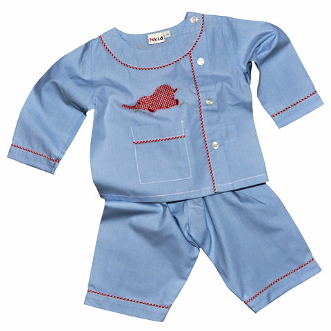 Cotton Pajamas - Blue with Red Gingham Laying Elephant and Red Gingham Piping (3 Months)