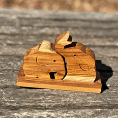 Wood Elephant Nesting Salt & Pepper Set with Stand - Sugar Palm Wood