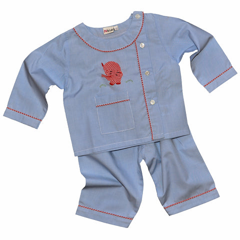 Cotton Pajamas - Blue with Red Gingham Elephant and Red Gingham Piping (6 Months)